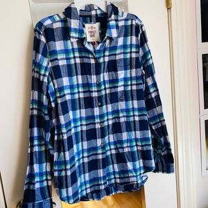 Blue Green and White Flannel Button Down Shirt